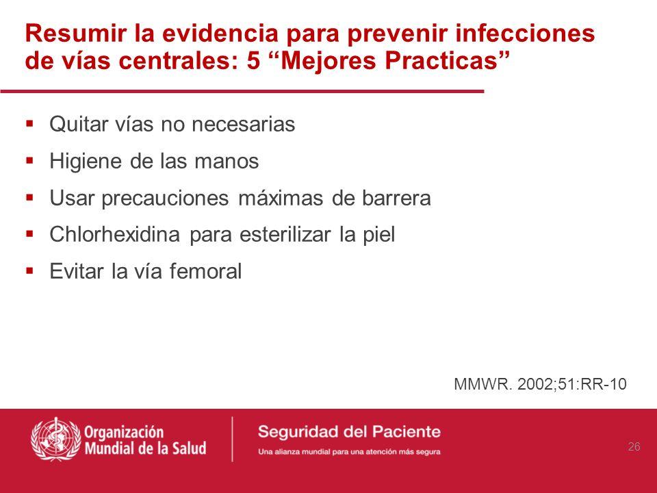 Resumir la evidencia para prevenir infecciones de vías centrales: 5 Mejores Practicas Quitar vías no necesarias Higiene de las manos Usar precauciones