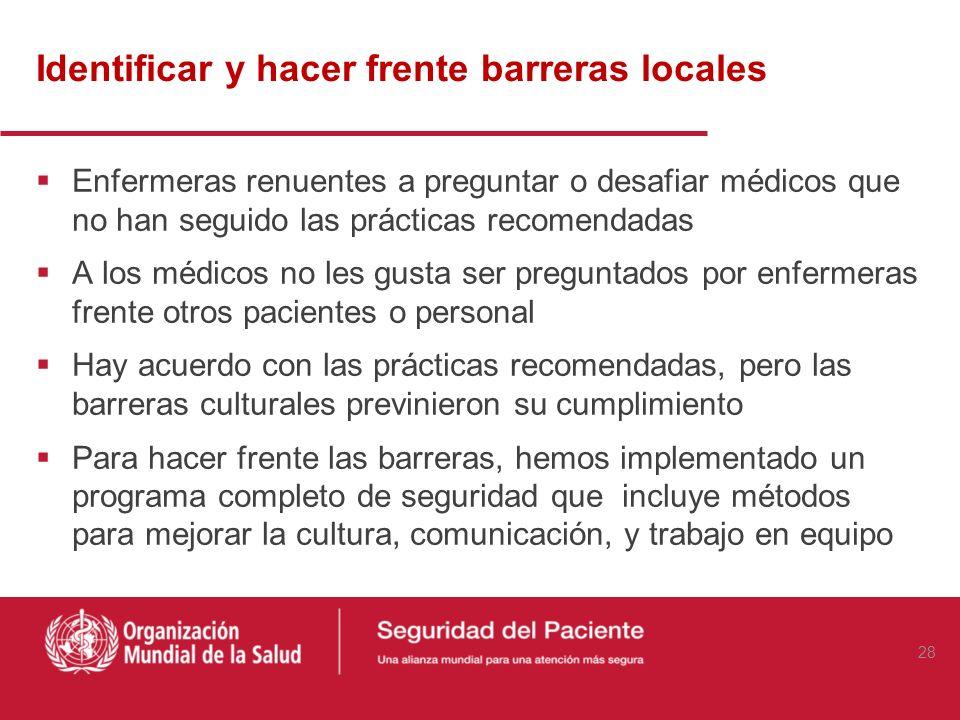Identificar y hacer frente barreras locales Enfermeras renuentes a preguntar o desafiar médicos que no han seguido las prácticas recomendadas A los mé