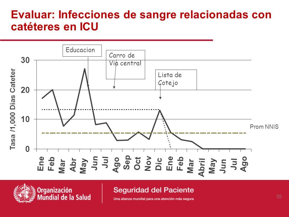Evaluar: Infecciones de sangre relacionadas con catéteres en ICU 35