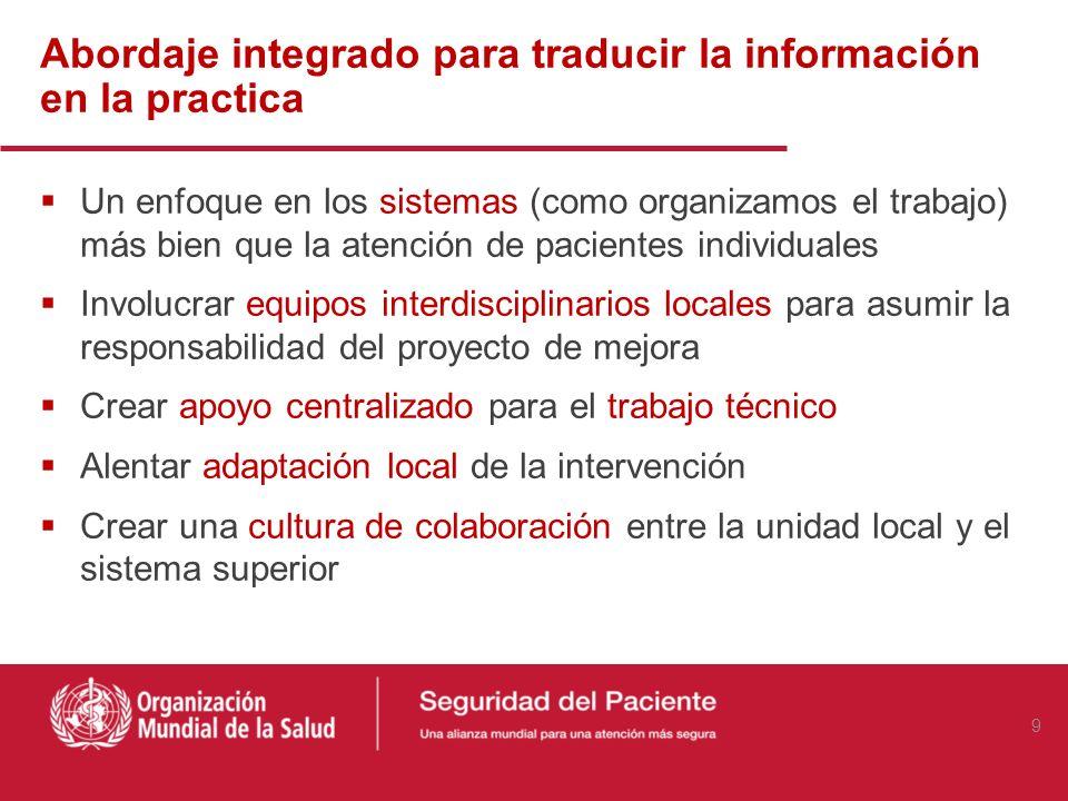 Abordaje integrado para traducir la información en la practica Un enfoque en los sistemas (como organizamos el trabajo) más bien que la atención de pa