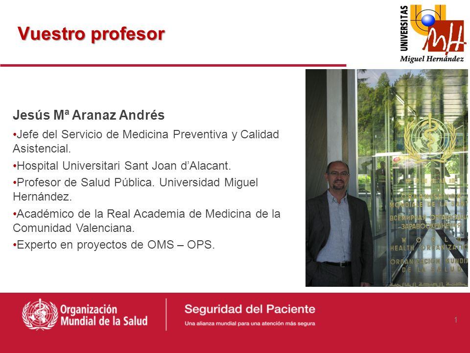 Vuestro profesor Jesús Mª Aranaz Andrés Jefe del Servicio de Medicina Preventiva y Calidad Asistencial.