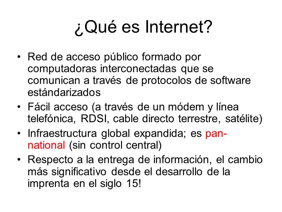 ¿Qué es Internet? Red de acceso público formado por computadoras interconectadas que se comunican a través de protocolos de software estándarizados Fá