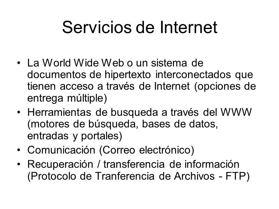 Servicios de Internet La World Wide Web o un sistema de documentos de hipertexto interconectados que tienen acceso a través de Internet (opciones de e