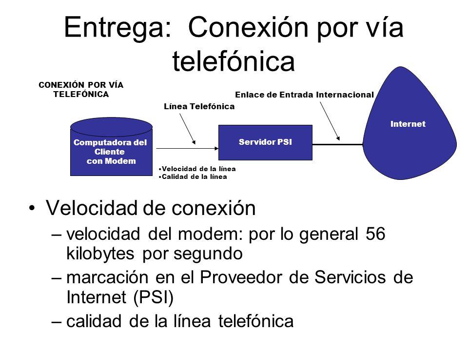 Entrega: Conexión por vía telefónica Velocidad de conexión –velocidad del modem: por lo general 56 kilobytes por segundo –marcación en el Proveedor de