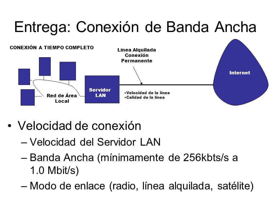Entrega: Conexión de Banda Ancha Velocidad de conexión –Velocidad del Servidor LAN –Banda Ancha (mínimamente de 256kbts/s a 1.0 Mbit/s) –Modo de enlac