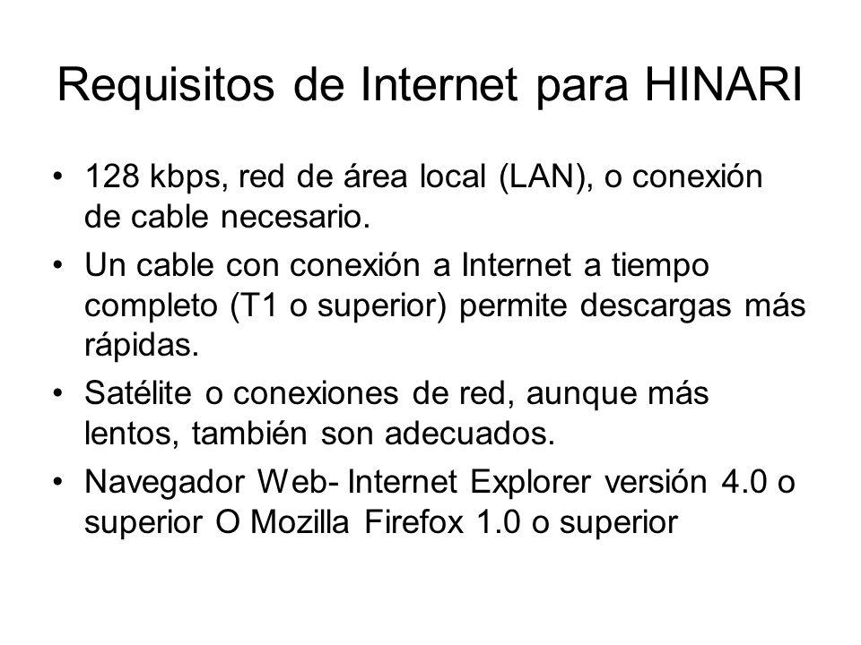 Requisitos de Internet para HINARI 128 kbps, red de área local (LAN), o conexión de cable necesario. Un cable con conexión a Internet a tiempo complet