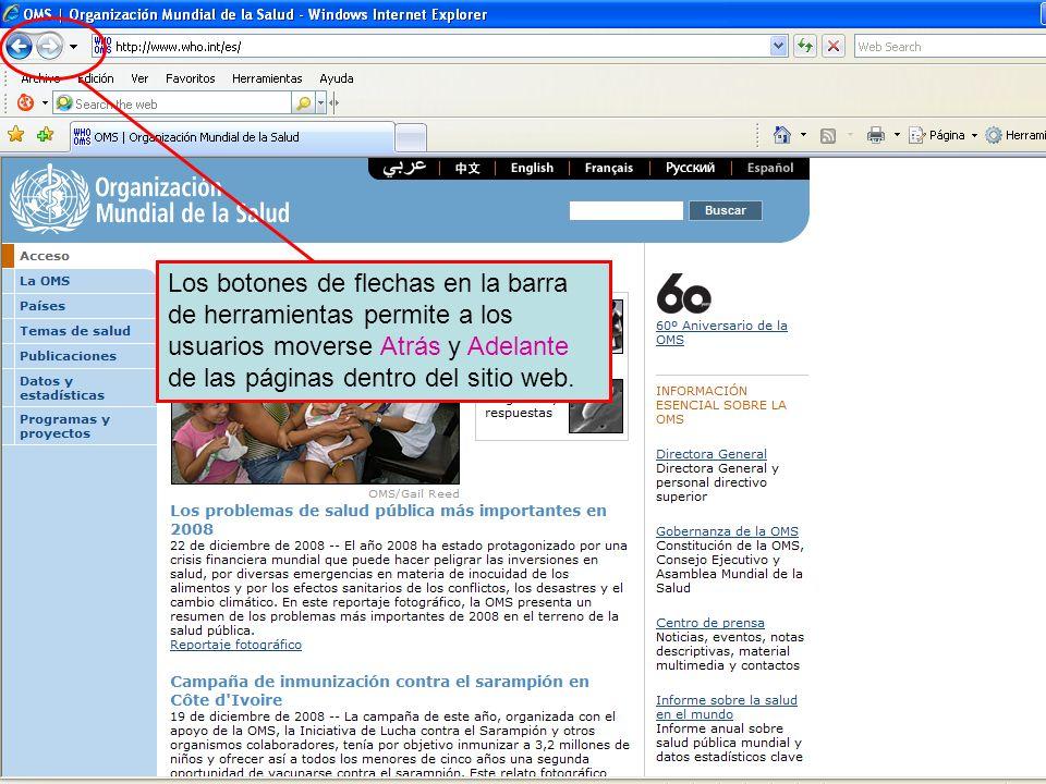 Forward and back navigation buttons Los botones de flechas en la barra de herramientas permite a los usuarios moverse Atrás y Adelante de las páginas