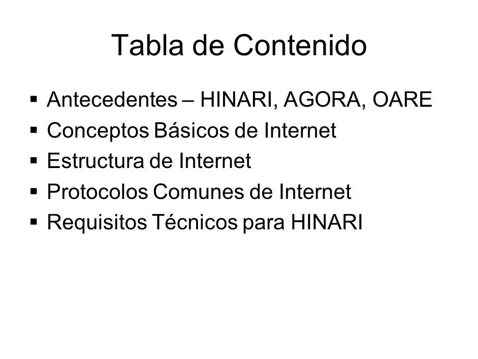 Tabla de Contenido Antecedentes – HINARI, AGORA, OARE Conceptos Básicos de Internet Estructura de Internet Protocolos Comunes de Internet Requisitos T