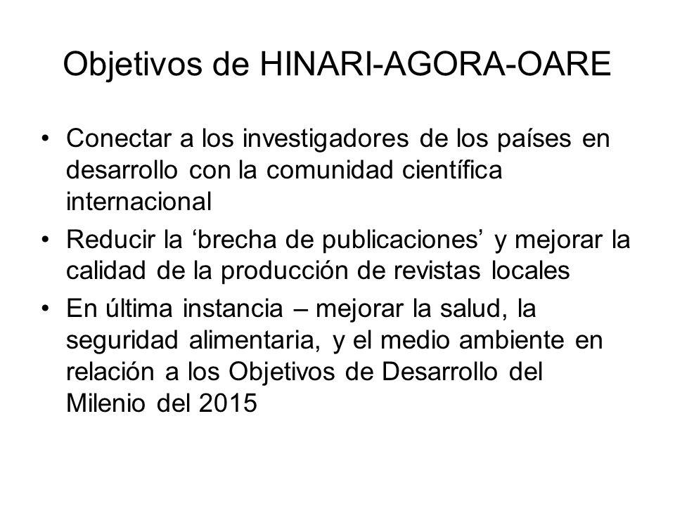 Objetivos de HINARI-AGORA-OARE Conectar a los investigadores de los países en desarrollo con la comunidad científica internacional Reducir la brecha d
