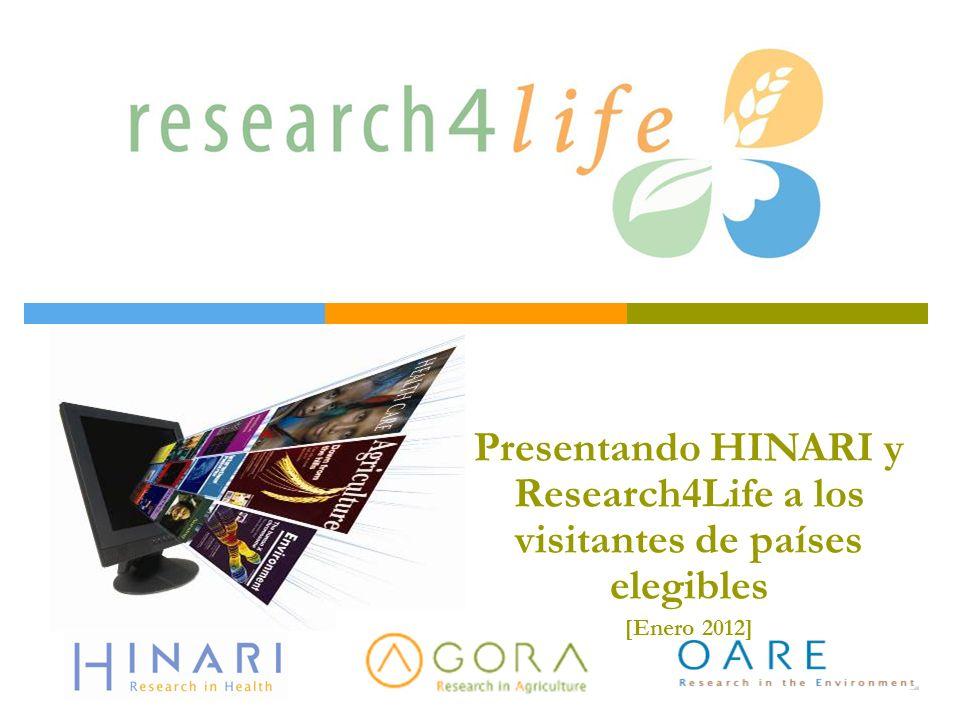 Esquema de HINARI Antecedentes Elegibilidad Asociados Contenidos Inscripción Materiales de capacitación Opcional: Research4Life