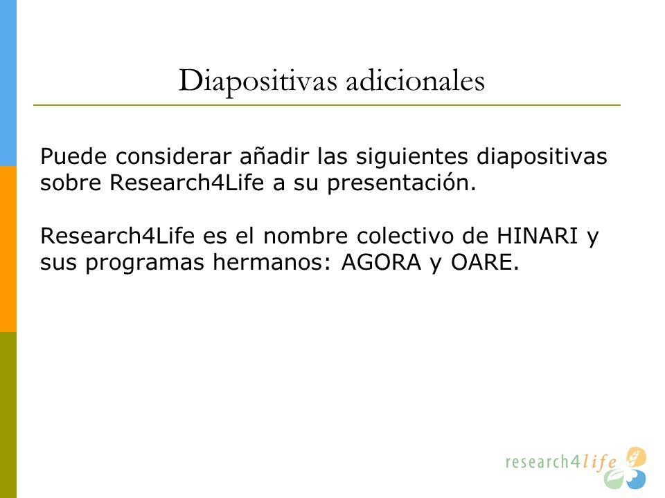 Diapositivas adicionales Puede considerar añadir las siguientes diapositivas sobre Research4Life a su presentación. Research4Life es el nombre colecti