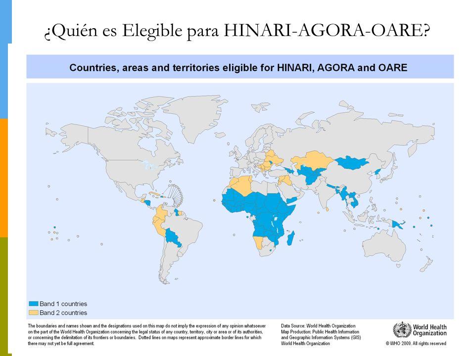 Inscripciones a HINARI por país