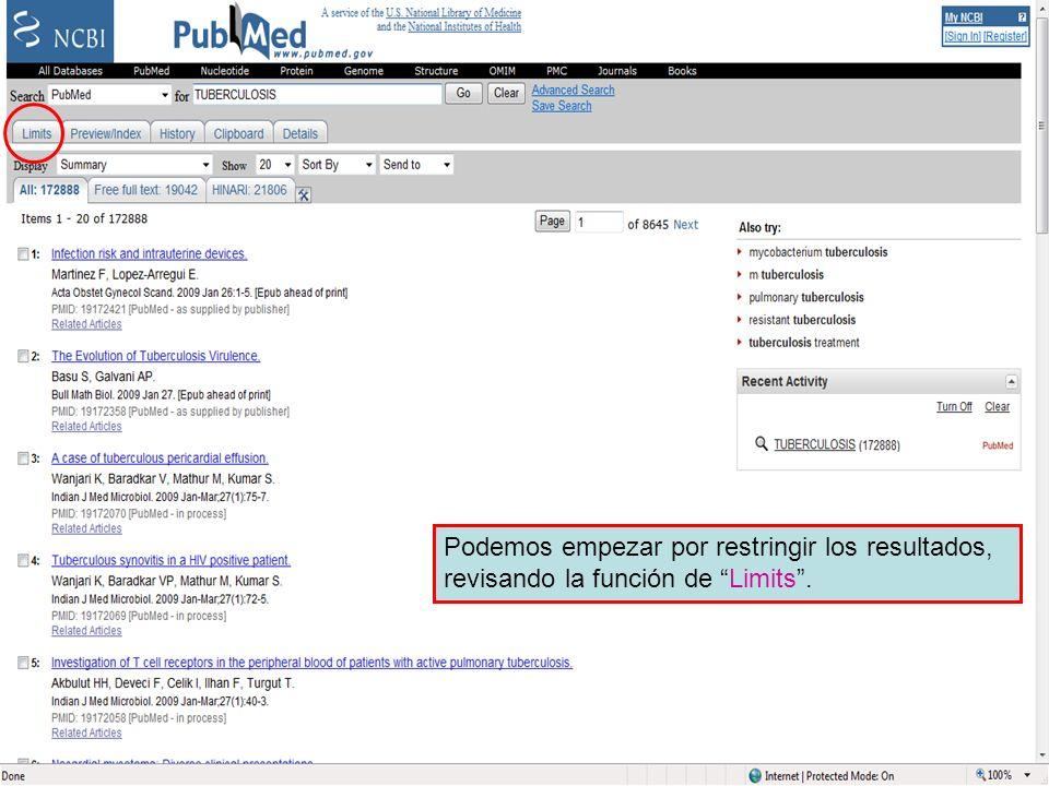 Limit Link Podemos empezar por restringir los resultados, revisando la función de Limits.