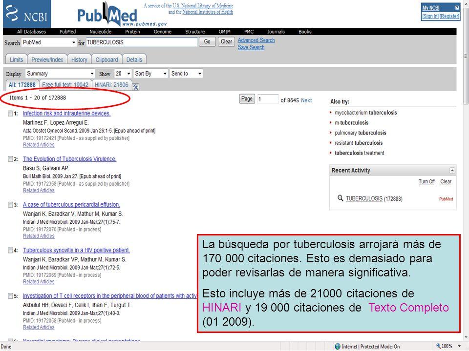 PubMed search results La búsqueda por tuberculosis arrojará más de 170 000 citaciones.