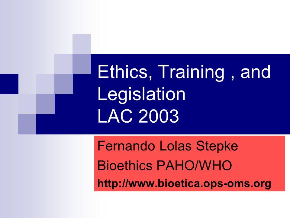 Normativas con contenidos Bioéticos en América Latina y el Caribe Situación existente en 2003 País Normativa Comisión Nacional Normativas GeneralesNormativas Específicas Costa RicaResolución MinisterialReglamento Ministerial Reglamento Ministerial (incluye recomendaciones CIOMS y OPS) (dependencia Ministerial) Colombia Decreto Presidencial N° 1101 de 2001 Ley 23 de 1981, de Ética Médica Resolución 13.437 de 1991: Regula Comités de Ética Hospitalaria y les da atribuciones para autorizar protocolos de investigación (dependencia Presidencial, coordinada por Ministerio de Protección Social) Resolución N° 008430 de 1993, del Ministerio de Salud, que establece Normas para la Investigación en salud Decreto Presidencial que establece conformación de los Comités de Ética Hospitalarios (sin dato de N° y año