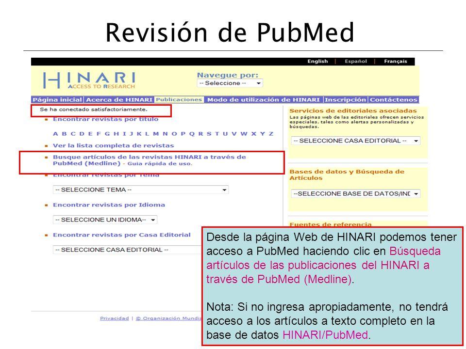 Revisión de PubMed Desde la página Web de HINARI podemos tener acceso a PubMed haciendo clic en Búsqueda artículos de las publicaciones del HINARI a t