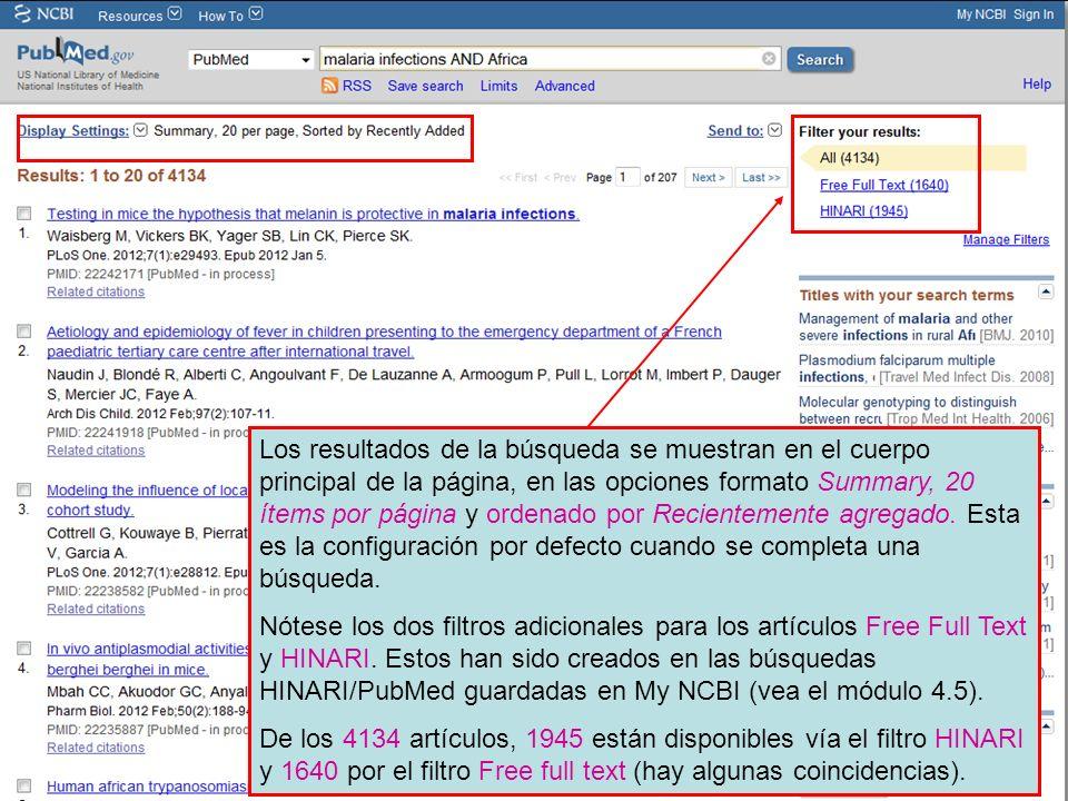 Los resultados de la búsqueda se muestran en el cuerpo principal de la página, en las opciones formato Summary, 20 ítems por página y ordenado por Rec