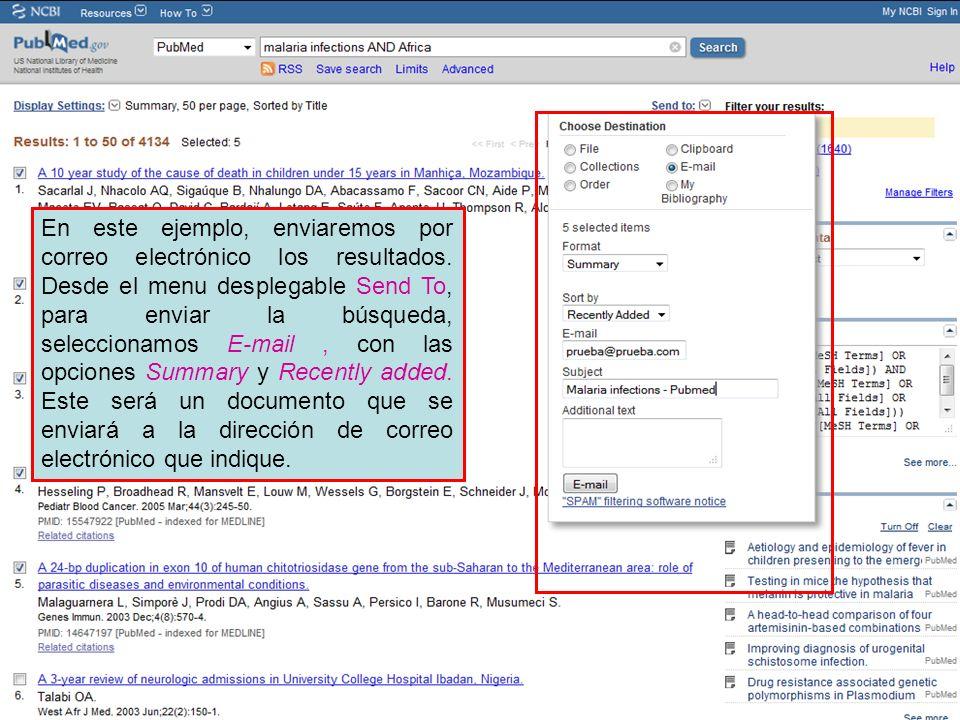 En este ejemplo, enviaremos por correo electrónico los resultados. Desde el menu desplegable Send To, para enviar la búsqueda, seleccionamos E-mail, c