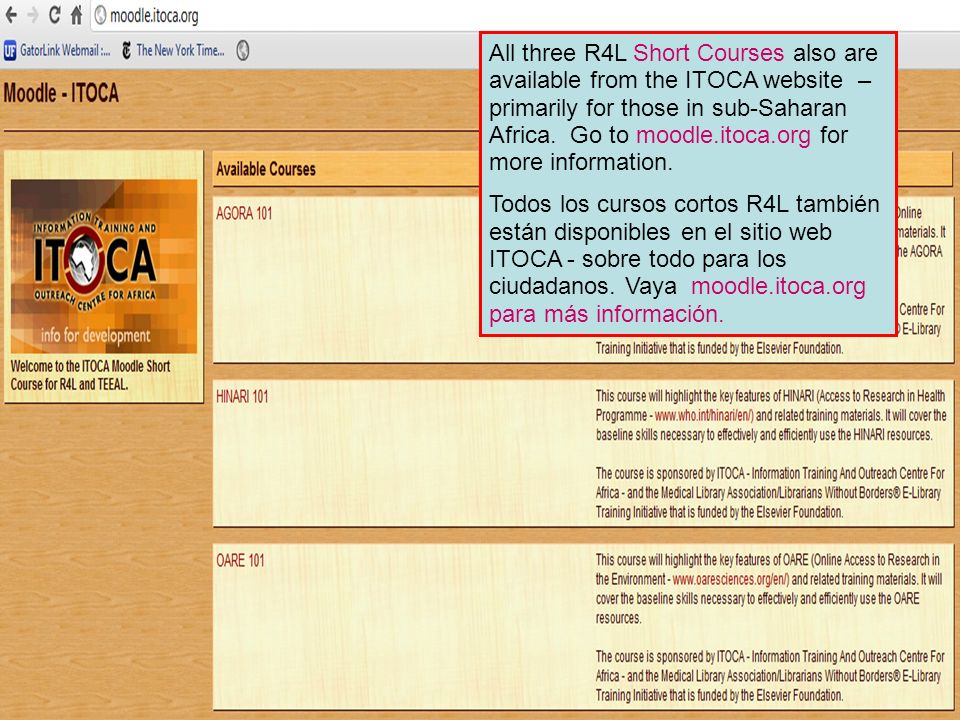All three R4L Short Courses also are available from the ITOCA website – primarily for those in sub-Saharan Africa. Go to moodle.itoca.org for more inf