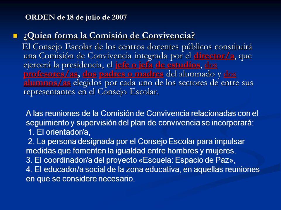 ORDEN de 18 de julio de 2007 ¿Quien forma la Comisión de Convivencia? ¿Quien forma la Comisión de Convivencia? El Consejo Escolar de los centros docen