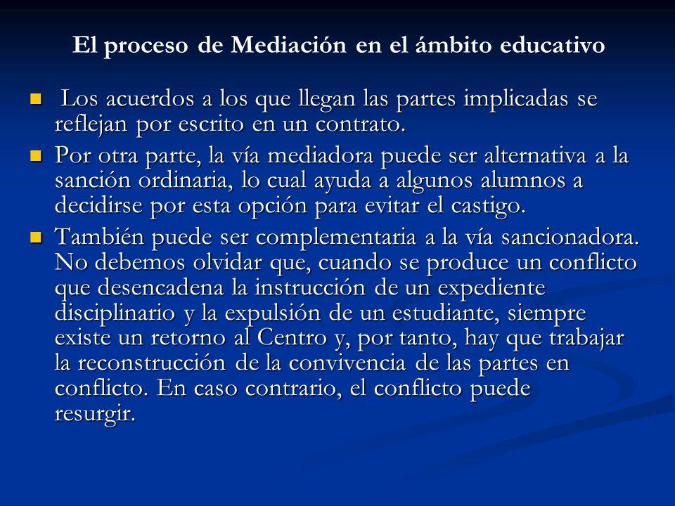 El proceso de Mediación en el ámbito educativo Los acuerdos a los que llegan las partes implicadas se reflejan por escrito en un contrato. Los acuerdo