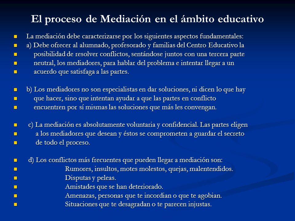 El proceso de Mediación en el ámbito educativo La mediación debe caracterizarse por los siguientes aspectos fundamentales: La mediación debe caracteri