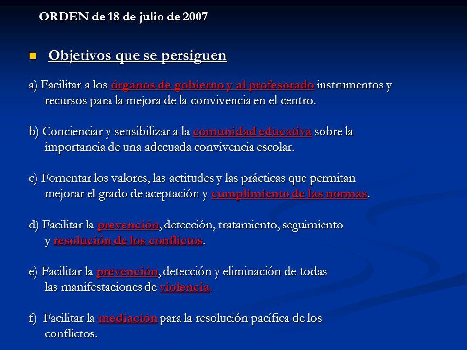 ORDEN de 18 de julio de 2007 Objetivos que se persiguen Objetivos que se persiguen a) Facilitar a los órganos de gobierno y al profesorado instrumento
