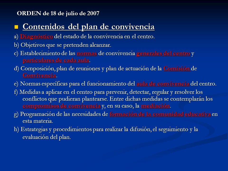 ORDEN de 18 de julio de 2007 Contenidos del plan de convivencia Contenidos del plan de convivencia a) Diagnóstico del estado de la convivencia en el c