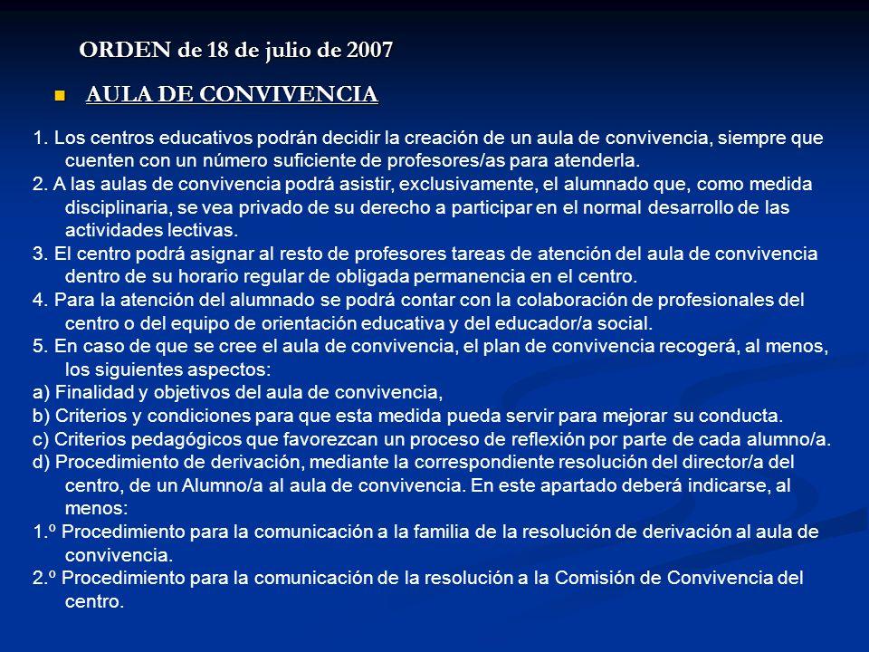 ORDEN de 18 de julio de 2007 AULA DE CONVIVENCIA AULA DE CONVIVENCIA 1. Los centros educativos podrán decidir la creación de un aula de convivencia, s