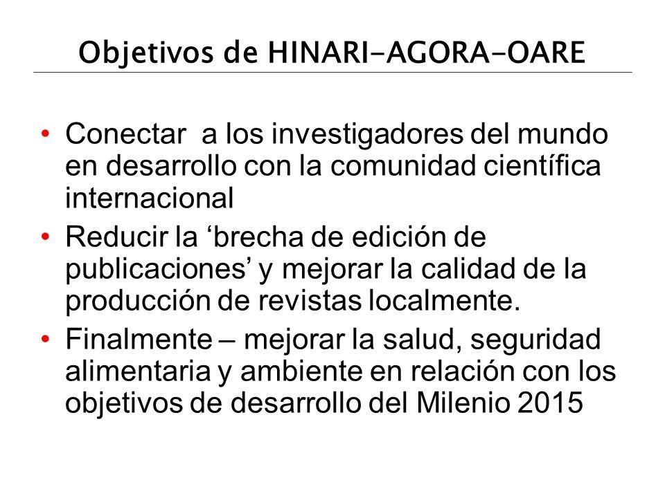 HOA URLs HINARI: salud (<5,000 revistas) http://www.who.int/hinari/es/ AGORA: agricultura (<900 revistas) http://www.aginternetwork.org/es/ OARE: ambiente (<1300 revistas) http://www.oaresciences.org/es/ http://www.aginternetwork.org/es/ http://www.oaresciences.org/es/