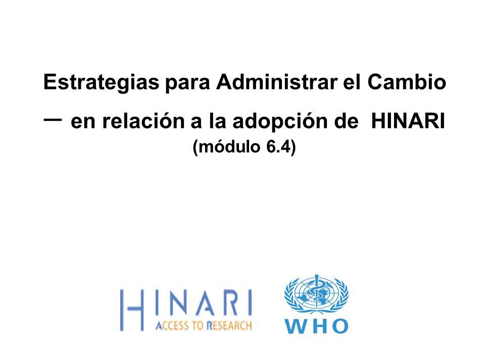 Ejercicio 4 Para el uso óptimo de HINARI, cuáles son los grupos clave de stakeholders.