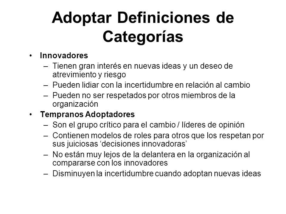 Adoptar Definiciones de Categorías Innovadores –Tienen gran interés en nuevas ideas y un deseo de atrevimiento y riesgo –Pueden lidiar con la incertid