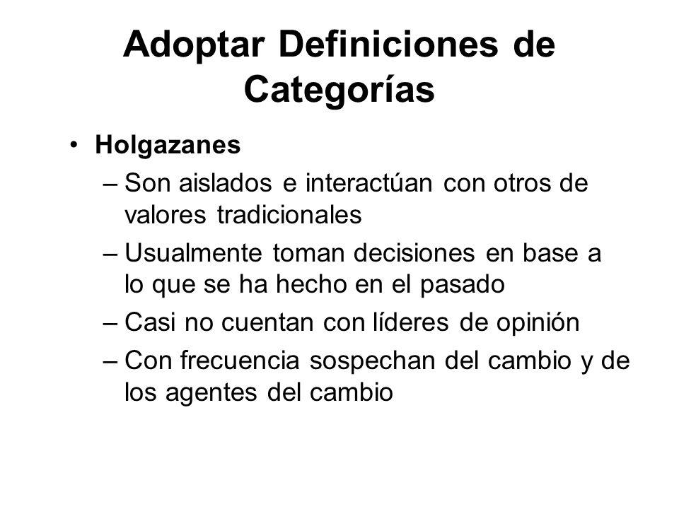Adoptar Definiciones de Categorías Holgazanes –Son aislados e interactúan con otros de valores tradicionales –Usualmente toman decisiones en base a lo