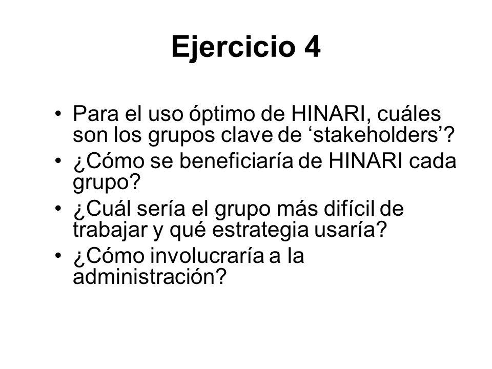 Ejercicio 4 Para el uso óptimo de HINARI, cuáles son los grupos clave de stakeholders? ¿Cómo se beneficiaría de HINARI cada grupo? ¿Cuál sería el grup