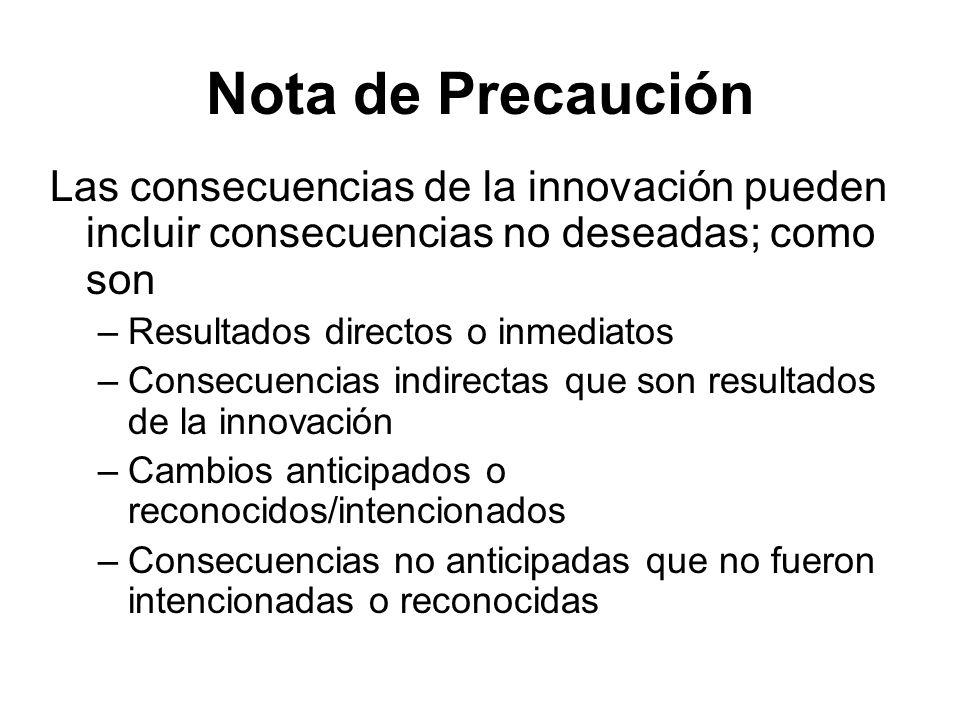 Nota de Precaución Las consecuencias de la innovación pueden incluir consecuencias no deseadas; como son –Resultados directos o inmediatos –Consecuenc