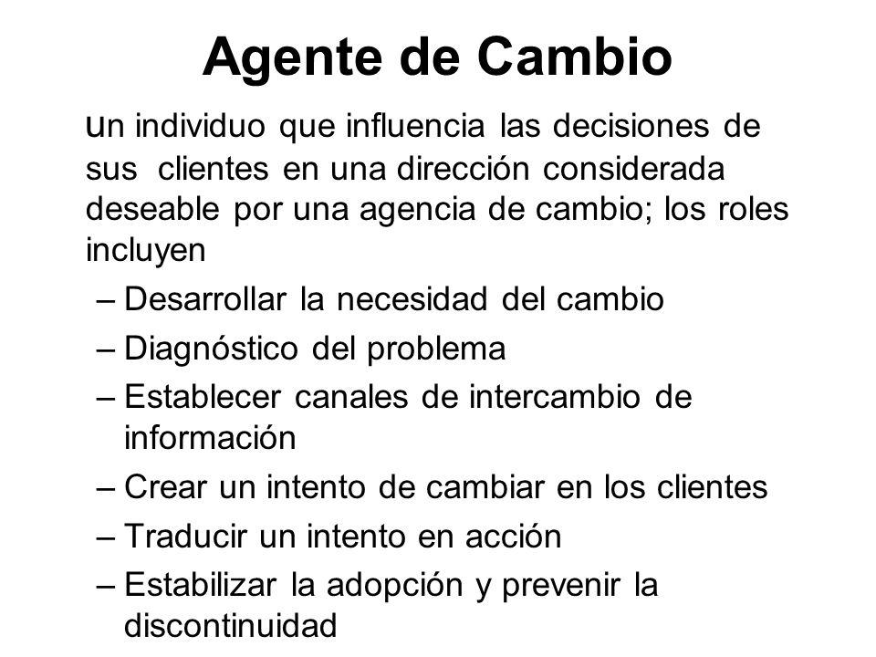 Agente de Cambio u n individuo que influencia las decisiones de sus clientes en una dirección considerada deseable por una agencia de cambio; los role