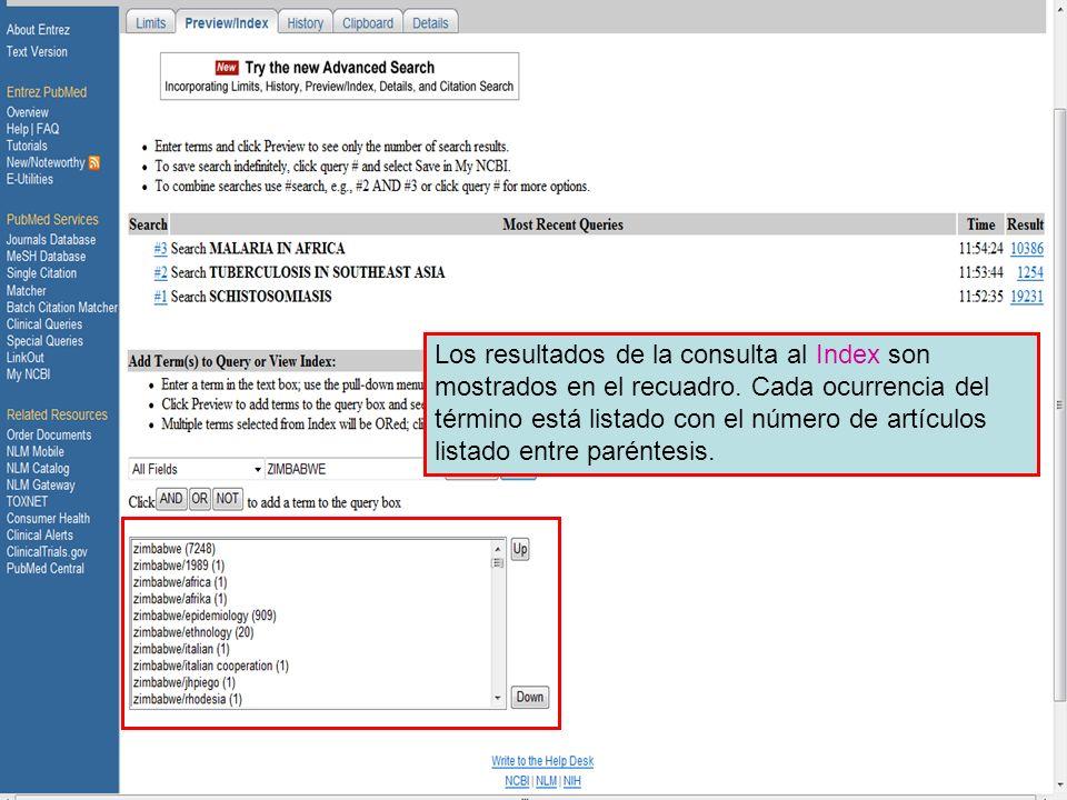 Preview/Index 5 Los resultados de la consulta al Index son mostrados en el recuadro. Cada ocurrencia del término está listado con el número de artícul