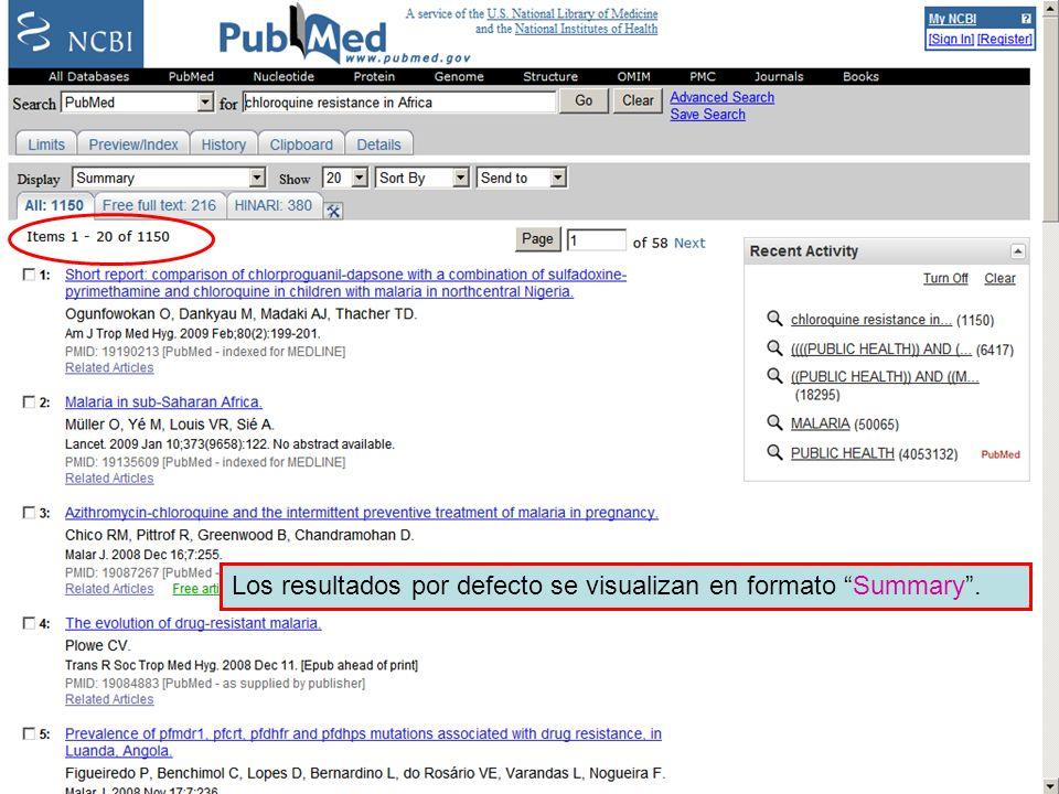 Linking to full text 2 Los resultados por defecto se visualizan en formato Summary.