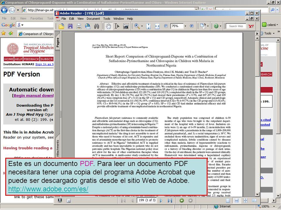 Full text PDF documents Este es un documento PDF. Para leer un documento PDF necesitara tener una copia del programa Adobe Acrobat que puede ser desca