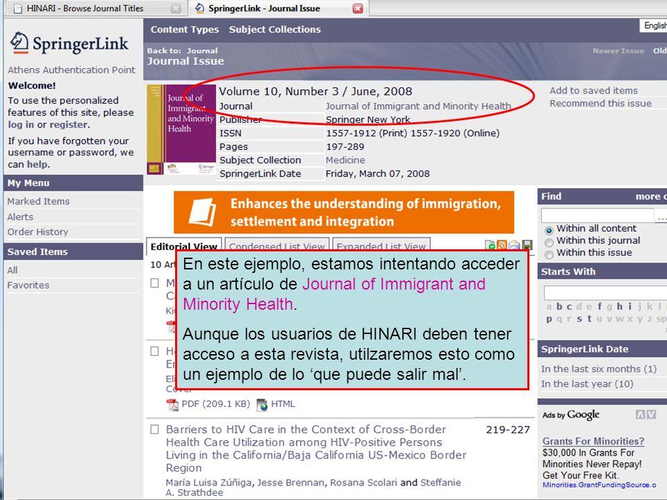 En este ejemplo, estamos intentando acceder a un artículo de Journal of Immigrant and Minority Health. Aunque los usuarios de HINARI deben tener acces