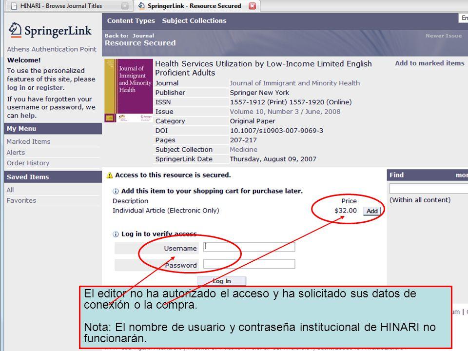 El editor no ha autorizado el acceso y ha solicitado sus datos de conexión o la compra. Nota: El nombre de usuario y contraseña institucional de HINAR