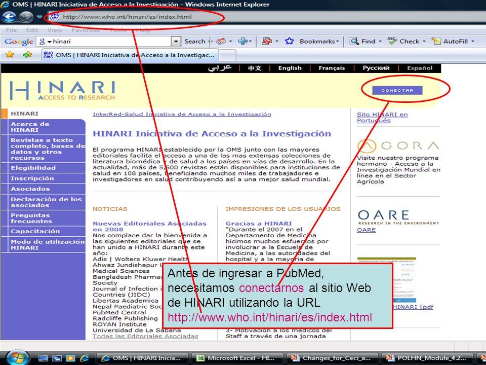 Logging on to HINARI 1 Antes de ingresar a PubMed, necesitamos conectarnos al sitio Web de HINARI utilizando la URL http://www.who.int/hinari/es/index