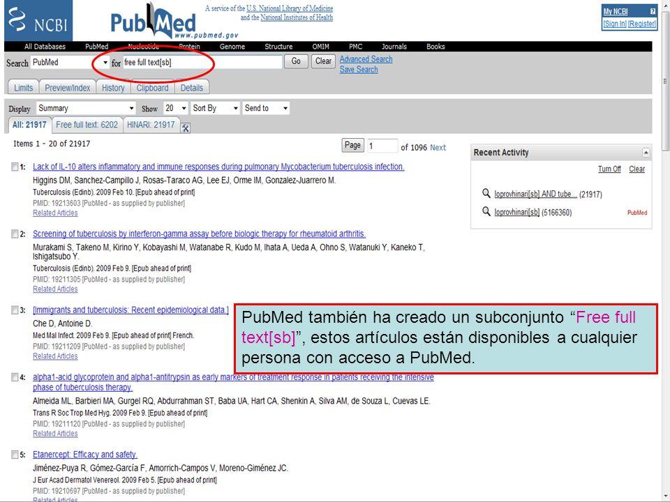 Free full text Subset 1 PubMed también ha creado un subconjunto Free full text[sb], estos artículos están disponibles a cualquier persona con acceso a