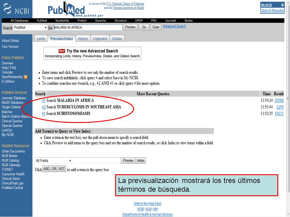 Preview/Index 2 La previsualización mostrará los tres últimos términos de búsqueda.