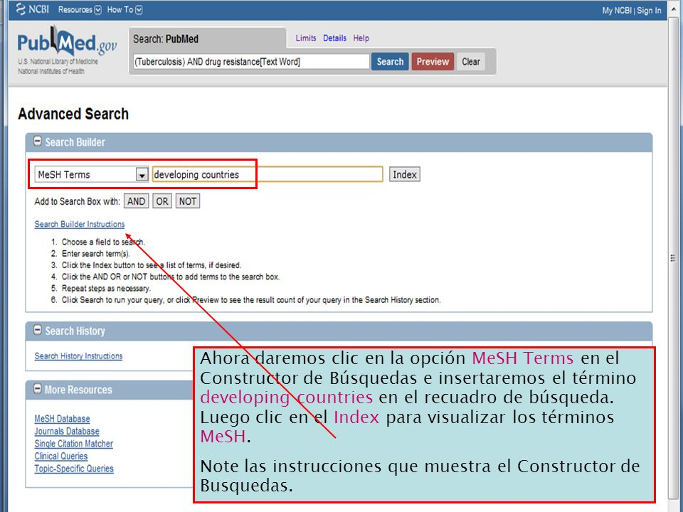 Ahora daremos clic en la opción MeSH Terms en el Constructor de Búsquedas e insertaremos el término developing countries en el recuadro de búsqueda. L