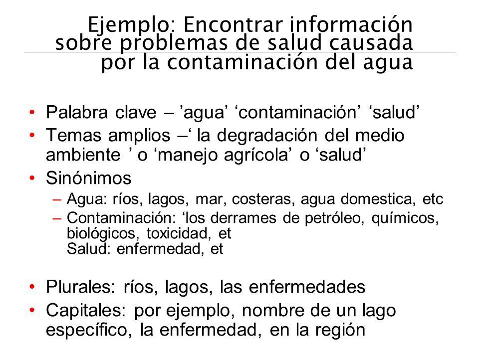 Ejemplo: Encontrar información sobre problemas de salud causada por la contaminación del agua Palabra clave – agua contaminación salud Temas amplios –