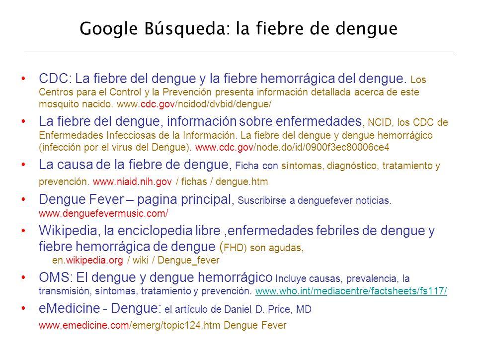 Google Búsqueda: la fiebre de dengue CDC: La fiebre del dengue y la fiebre hemorrágica del dengue. Los Centros para el Control y la Prevención present