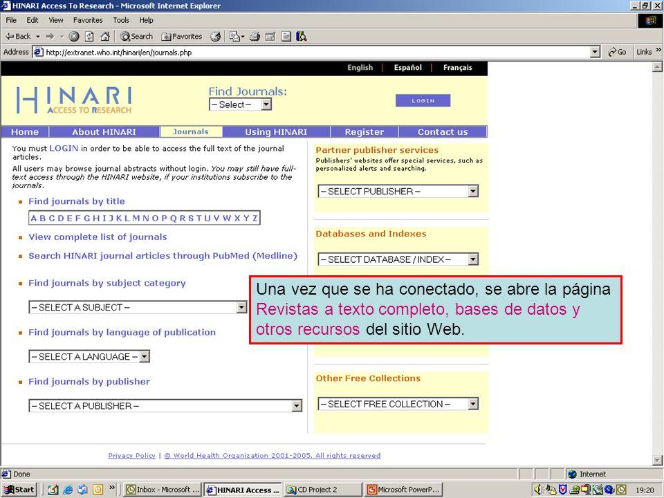 The Scientific Publications area of the website Una vez que se ha conectado, se abre la página Revistas a texto completo, bases de datos y otros recur