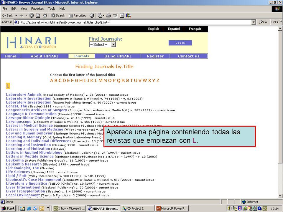 Accessing journals by title 2 Aparece una página conteniendo todas las revistas que empiezan con L.