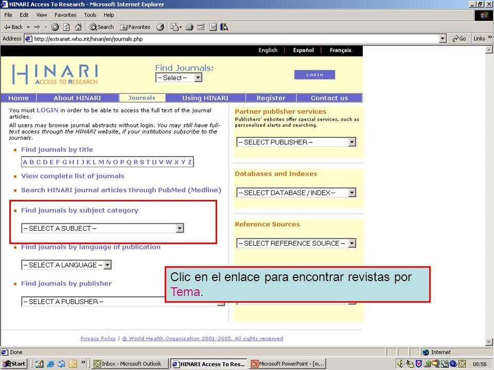 Accessing journals by subject 1 Clic en el enlace para encontrar revistas por Tema.